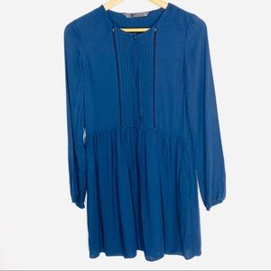Zara Trafaluc Dress XS Navy Long Sleeve